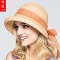 2016 New Sun Hat Lafite Straw Hat Lady Outdoor Fashion Beach Cap Costume Ribbon Bow Elegant Straw Floppy Bohemia Cap  B-3711