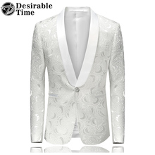 Mens Floral Printed Blazer Jacket Stage Costumes for Singers 2017 Fashion Shawl Collar Men Slim Fit Blazer White DT480