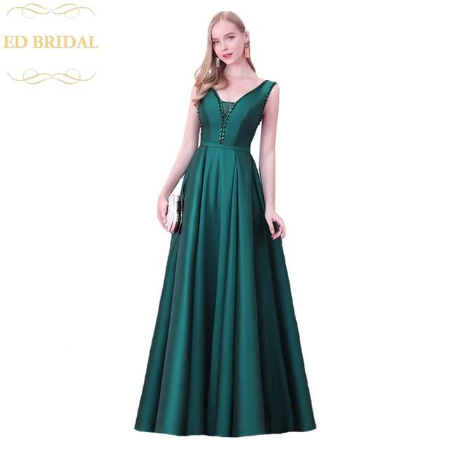 1014fb1653 2018 Simple Evening Dress The Banquet Elegant V-neck Dark Green Satin  Beading Floor-length Sleeveless Party Gown