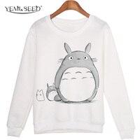 Casual 3D Sweatshirt Women Winter Clothing Cartoon Totoro Print Moleton Feminino Hoodies O Neck Pullover Tops