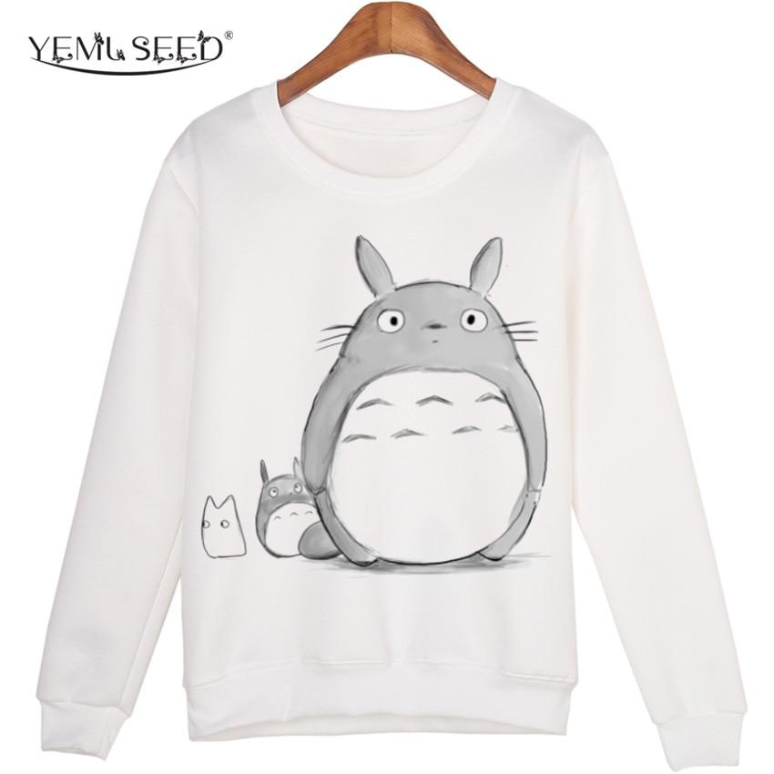 Casual 3d sweatshirt frauen winter clothing cartoon totoro drucken moleton feminino hoodies o-ansatz pullover tops wmh31