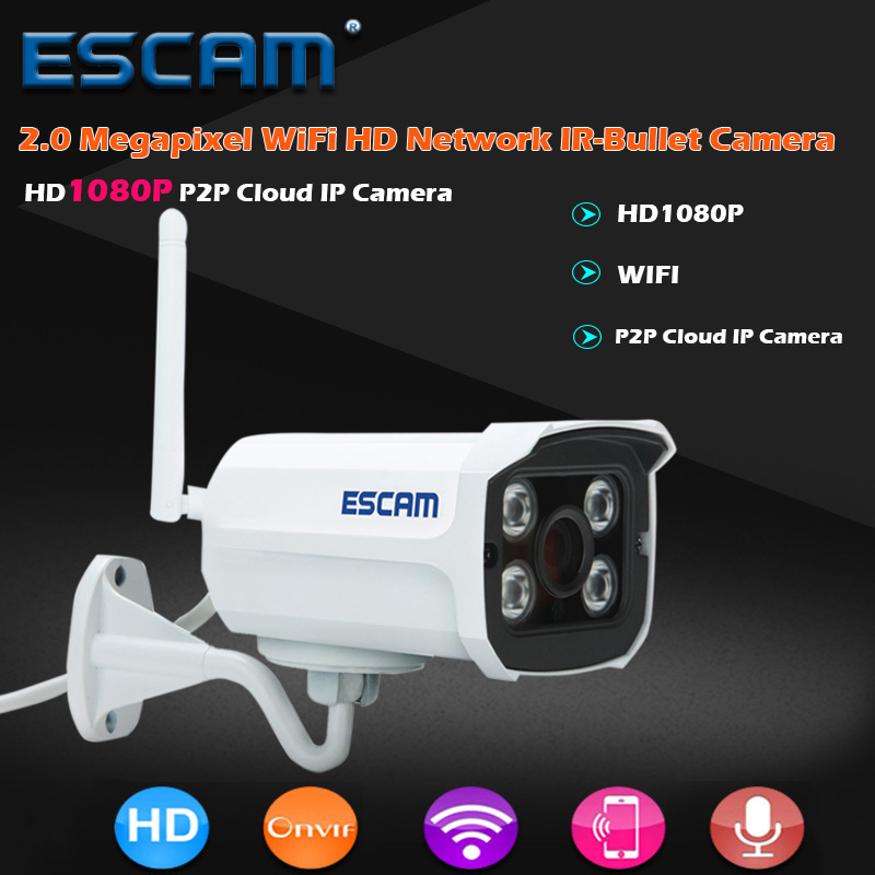 ESCAM QD900 WIFI IP Camera 2MP Full HD 1080P Network Infrared Bullet IP66 Onvif Outdoor Waterproof Wireless CCTV Camera owlcat wifi ip camera bullet outdoor waterproof onvif wireless network kamara 2mp full hd 1080p 720p security cctv camera