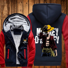 New ONE PIECE Hoodies Anime Monkey D Luffy Hooded Winter cotton Coats Jackets Men Cardigan Sweatshirts
