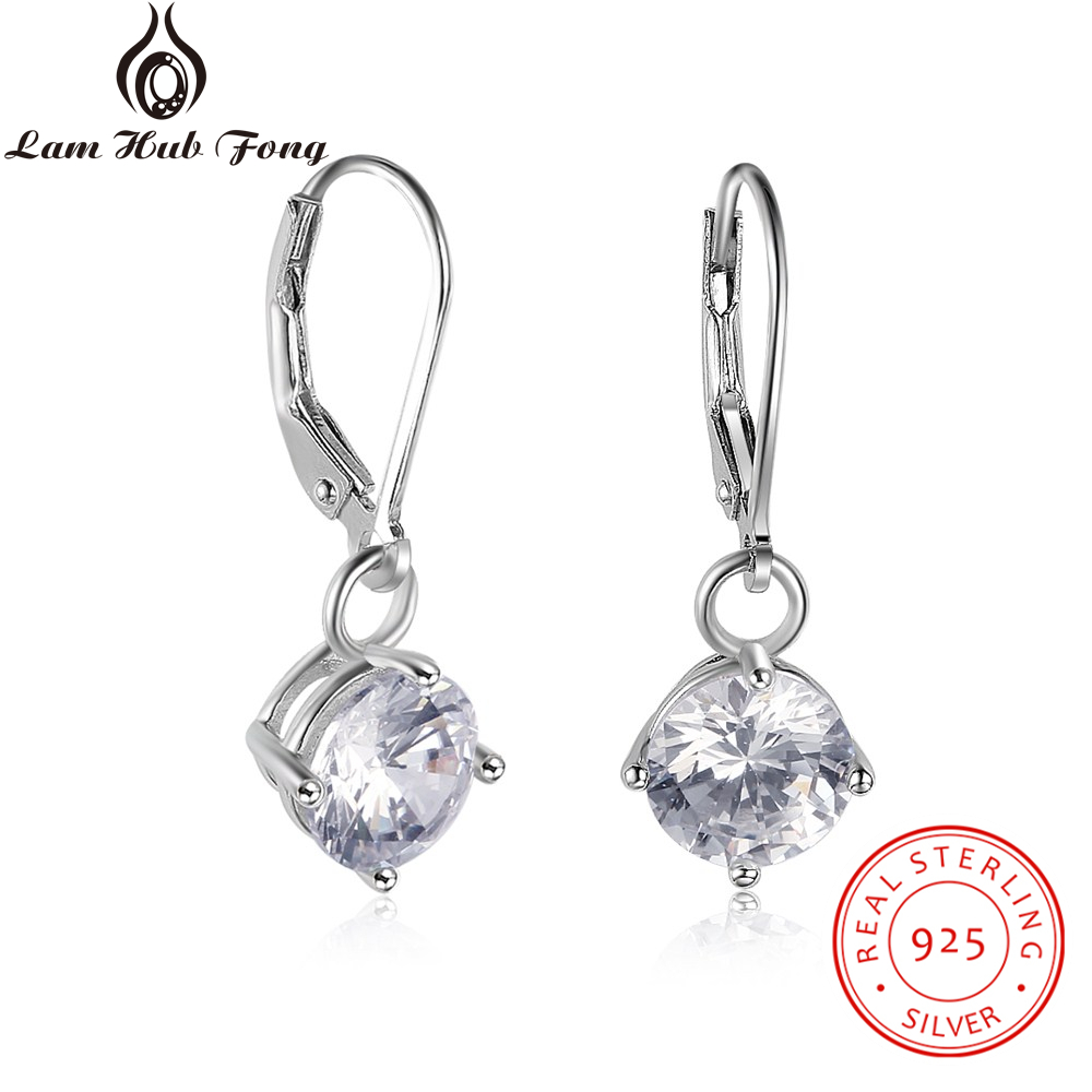 Classic 925 Sterling Silver Hoop Earrings 8mm Cubic Zirconia Earrings For Women Wedding 925 Silver Jewelry (Lam Hub Fong)