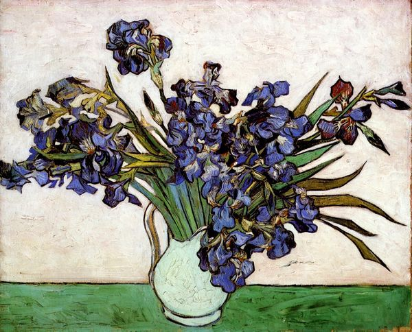 Famous Flowers Painting Vase With Irises By Van Gogh Modern Hamd