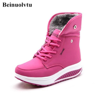 Free Shipping Women Wedge Sneakers Winter Nude Boots Snow Jogging Shoes Height Increasing Sports Casual Shoes