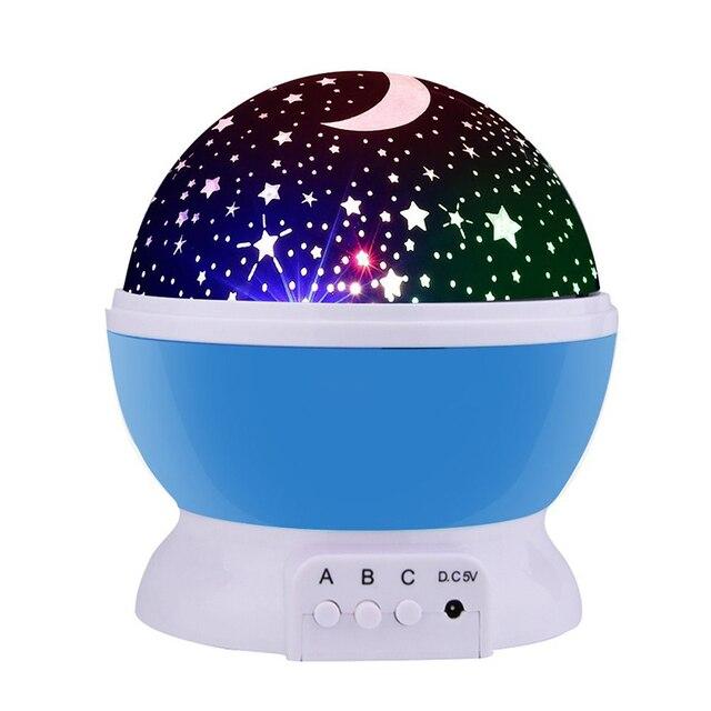 3w Night Light Led Rotating Star Projector Kids Baby Nursery Novelty Lighting Moon Sky Rotation Battery