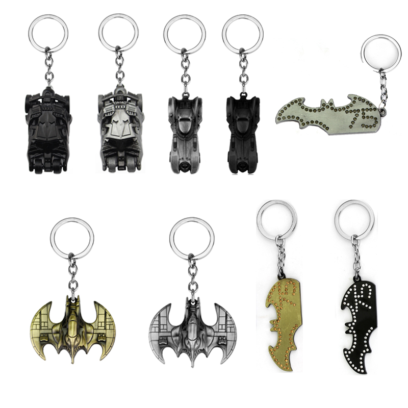 Movie The Dark Knight Batman Car Model Batmobile Keychain Alloy Key Ring For Men's Gifts Superman Batman Key Holder Dropshipping image