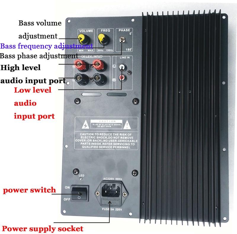 Placa de amplificador de Subwoofer 300W filtro de paso bajo subwoofer puro home theater amplificador de subwoofer activo, amplificador para subwoofer - 3