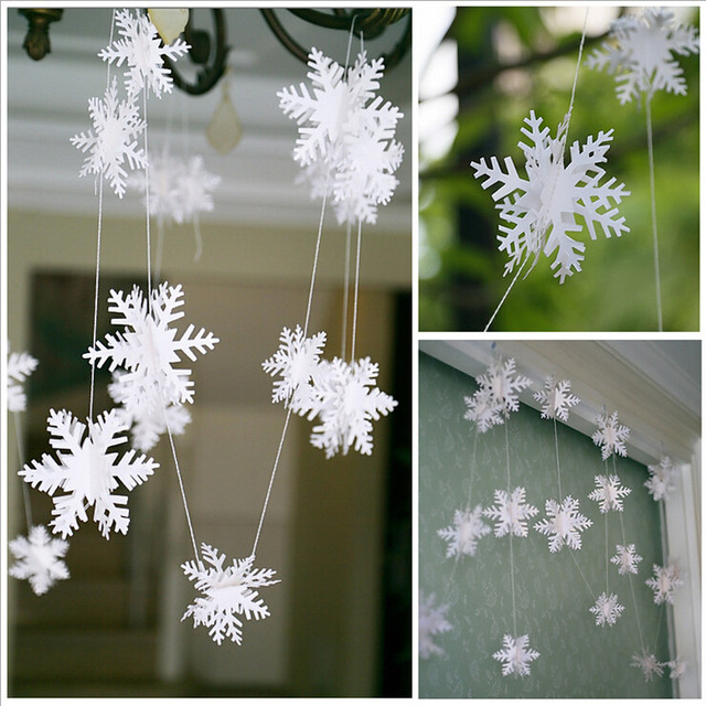 Us 1 42 28 Off 12pcs String 3d Card Paper White Snowflake Ornaments Christmas Garland Holiday Festival Party Home Decor Ej674287 In Artificial Snow