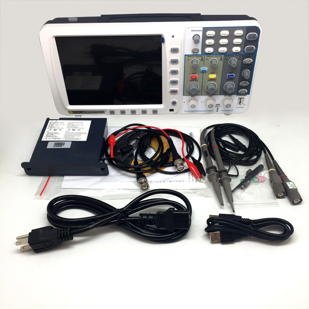 OWON New OWON 100Mhz Oscilloscope SDS7102 1G/s large 8 LCD LAN VGA battery included AKL77102VBB осциллограф owon hds1021m