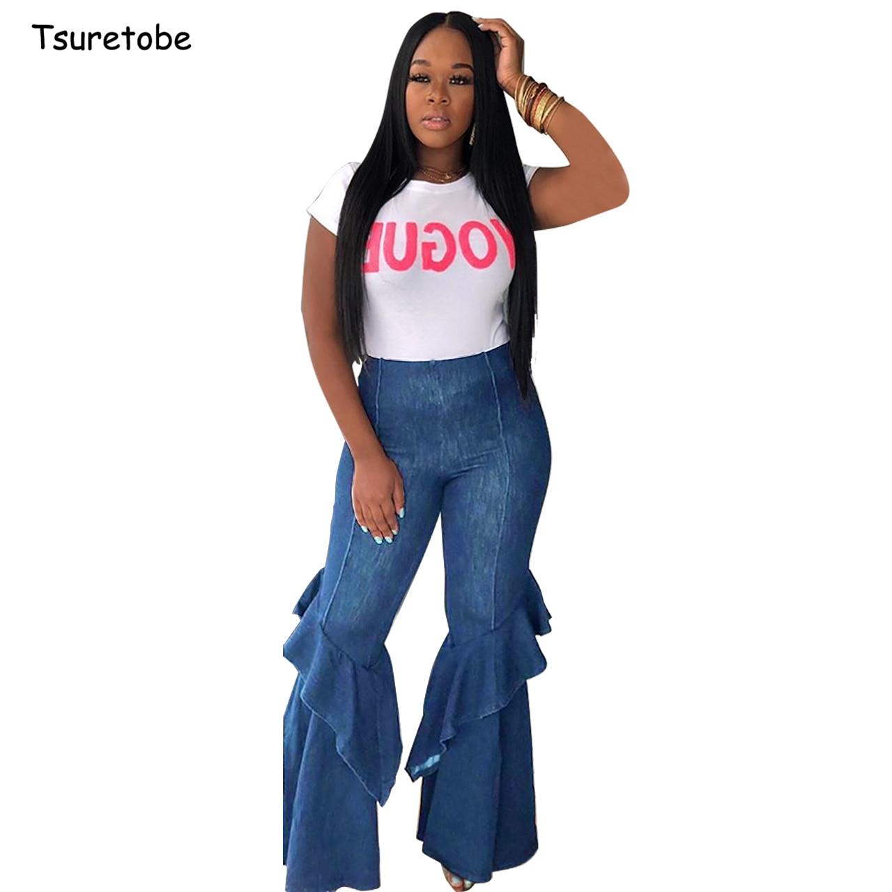 Tsuretobe Fashion Denim Flare Pants Cascading Ruffle Women Vintage High Waist   Jean   Trousers Lady Casual Bell-Bottoms Flare Pant