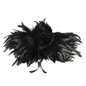 Image 5 - MSemis Adult Black Gothic Victorian Scarf Poncho Wrap Natural Feather Choker Collar Cape Shawl Stole Halloween Cosplay Costume