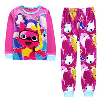 Baby Shark PinkFong Print Pajamas Cartoon Kids Boys Girls Clothing Set Top And Pant 2pcs Set