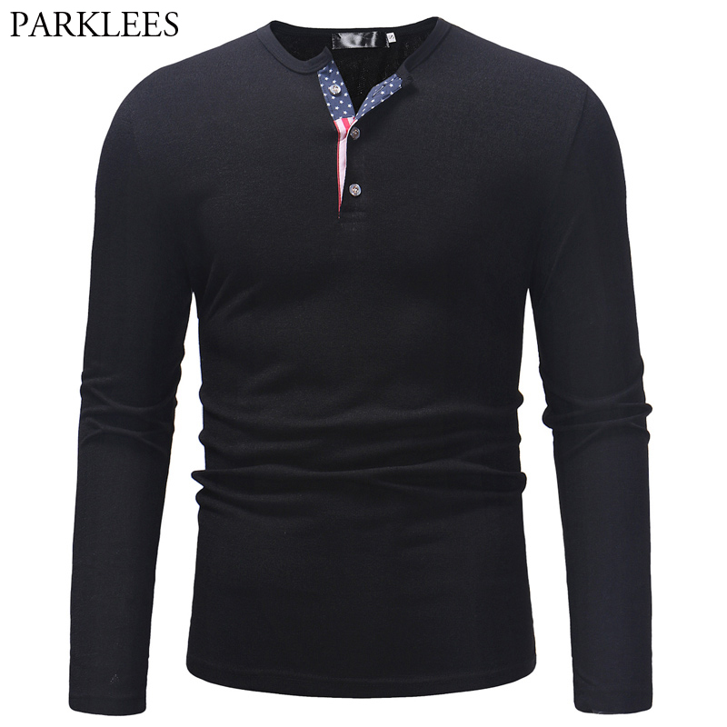 American Flag Sweater Men Casual Slim Fit Solid Color Mens Bottoming Sweaters Henry Collar Pull Homme Button Black Pullovers