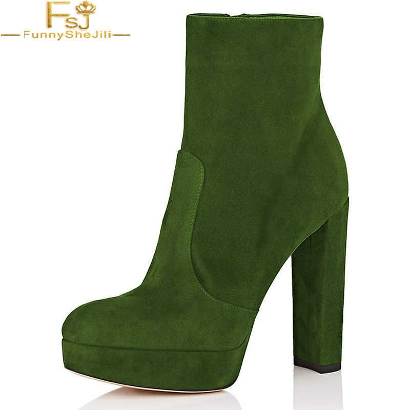 4c3fdc307ea FSJ Fashion Women Green Black Red Western Chunky High Heels Ankle ...
