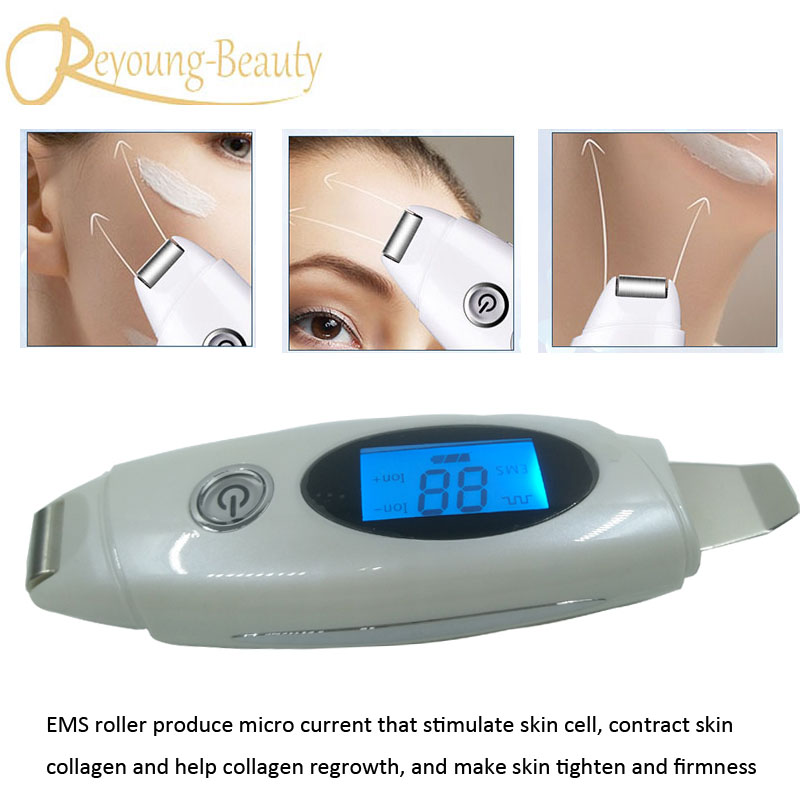 Sonic Pores Cleaning Dead Skin Blackhead Acne Removal Ultrasonic Facial Scrubber Peeling EMS Skin Lifting Firming Beauty Machine free shipping dead skin removal ultrasonic skin pores cleaner sonic scrubber face cleaning with ems lifting beauty massager