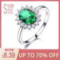 UMCHO piedras preciosas Esmeralda anillos para las mujeres de la princesa Diana anillo de la plata esterlina 925 sólida Vintage fiesta de compromiso regalo de joyería fina