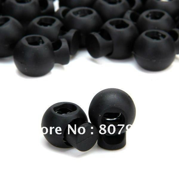 500 шт/партия, черная пластиковая Блокировка шнура с закругленным замком