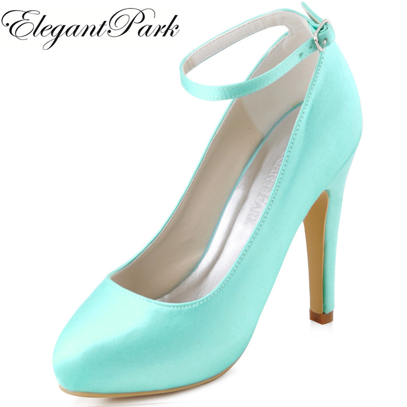 Women's Evening Party Pumps Mint Red Round Toe High Heels Platform Ankle Strap Satin Bridesmaid Bride Wedding Prom shoes EP11049