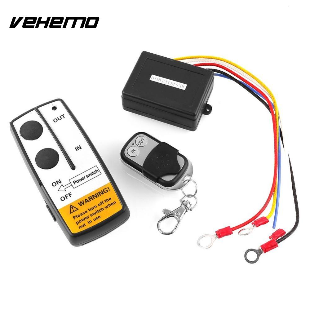 Vehemo 12V 50ft Wireless Remote Control Switch Kit For Truck/ATV Winch Warn Ramsey Universal For BMW BENZ AUDI FORD FOCUS NISSAN jinshengda remote control 24v universal wireless remote control kit handset for truck jeep atv suv winch warn ramsey
