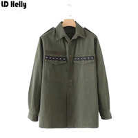 LD Helly 2018 Women Army Green Tassel Rivet Shirts Ladies Blusas Feminino Vintage Turn Down Collar