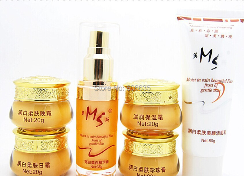Free ship MS whitening skin beauty skin care cosmetic sets anti-wrinkle Whitening Moisturizing, shrink pores,Face Care cream men skin care cream set 3pcs lot cleanser toner emulsion moisturizing oil control shrink pores anti wrinkle face care