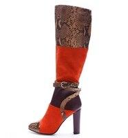 Для женщин колено высокие сапоги с квадратным каблуком из змеиной кожи стадо ткань Обувь В лоскутном стиле Пряжка на щиколотке ремешок боль