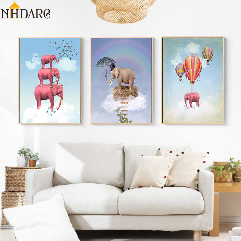 Surrealism Animal Elephant Hot Air Balloon Posters and Prints Canvas Painting Pictures for Living Room Kids Wall Art Home Decor