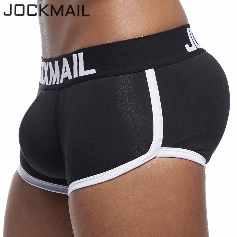 JOCKMAIL Марка Секси мъжки усилващо бельо Гей пенис изпъкнали Увеличаване Мъжки боксерски шорти отпред + отзад свалящ се Push Up Cup Pad