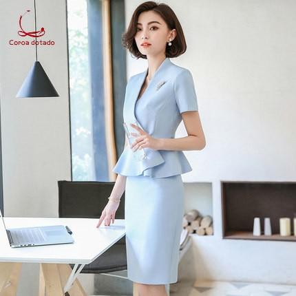 Professional women 2019 new temperament han edition workwear summer formal suit slimming skirt beauty salon work clothes