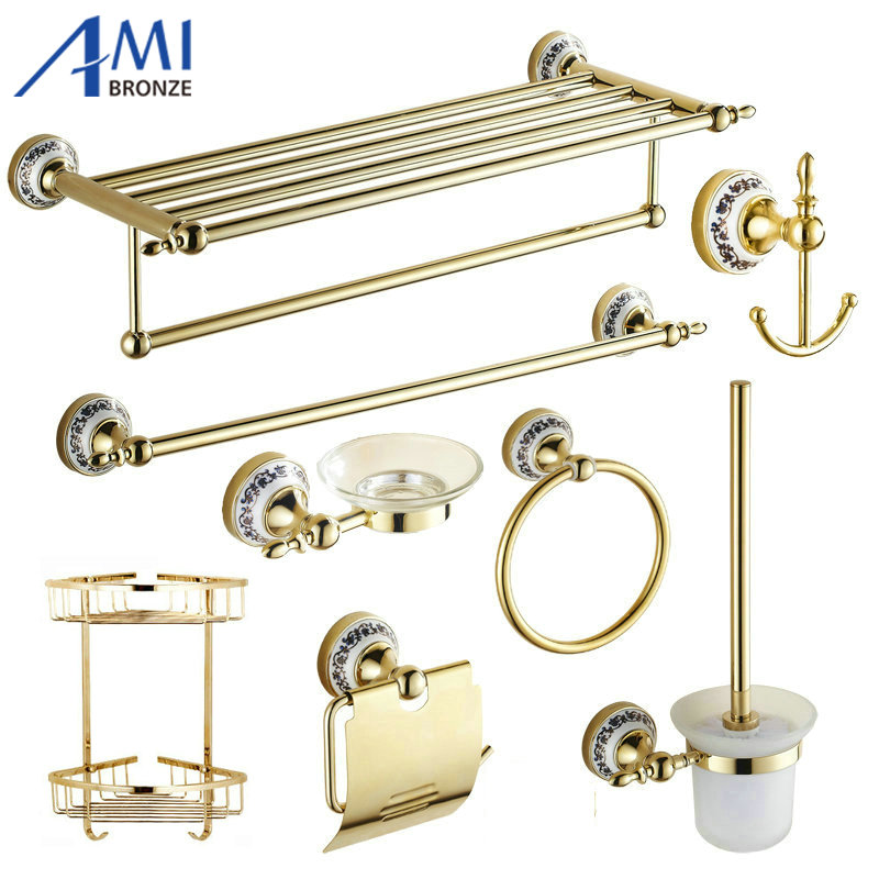 82GP Series Golden Polished Porcelain Bathroom accessories Bath Hardware Set Towel Shelf Towel Bar Paper Holder Cloth Hook82GP Series Golden Polished Porcelain Bathroom accessories Bath Hardware Set Towel Shelf Towel Bar Paper Holder Cloth Hook