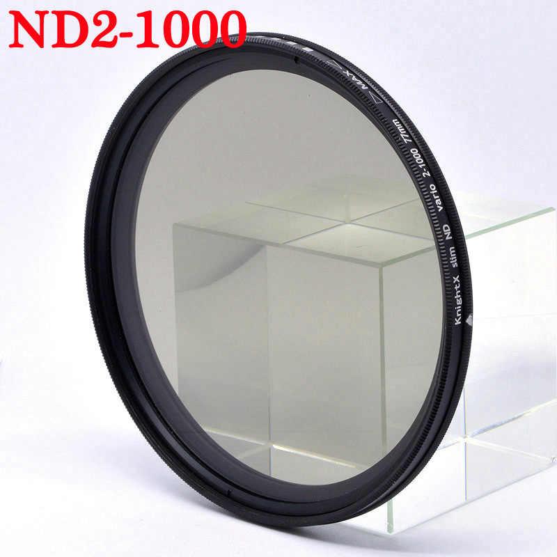 Knightx ND2 untuk ND1000 ND Filter Lensa untuk Canon EOS Sony Nikon Warna D80 1200D DSLR D600 D5300 D70 49 Mm 52 Mm 55 Mm 58 Mm 67 Mm 77 Mm