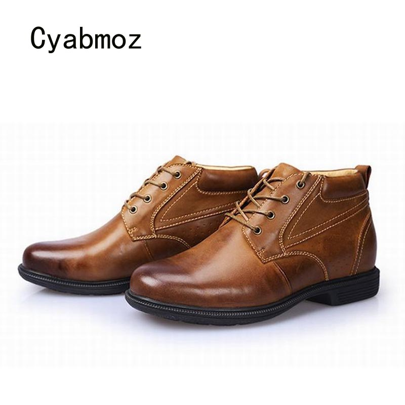Cyabmoz Fashion Brand Men Genuine Leather Height Increasing Shoes Invisibly 9cm Elevator Mens Lace Up Casual Party Man Shoes