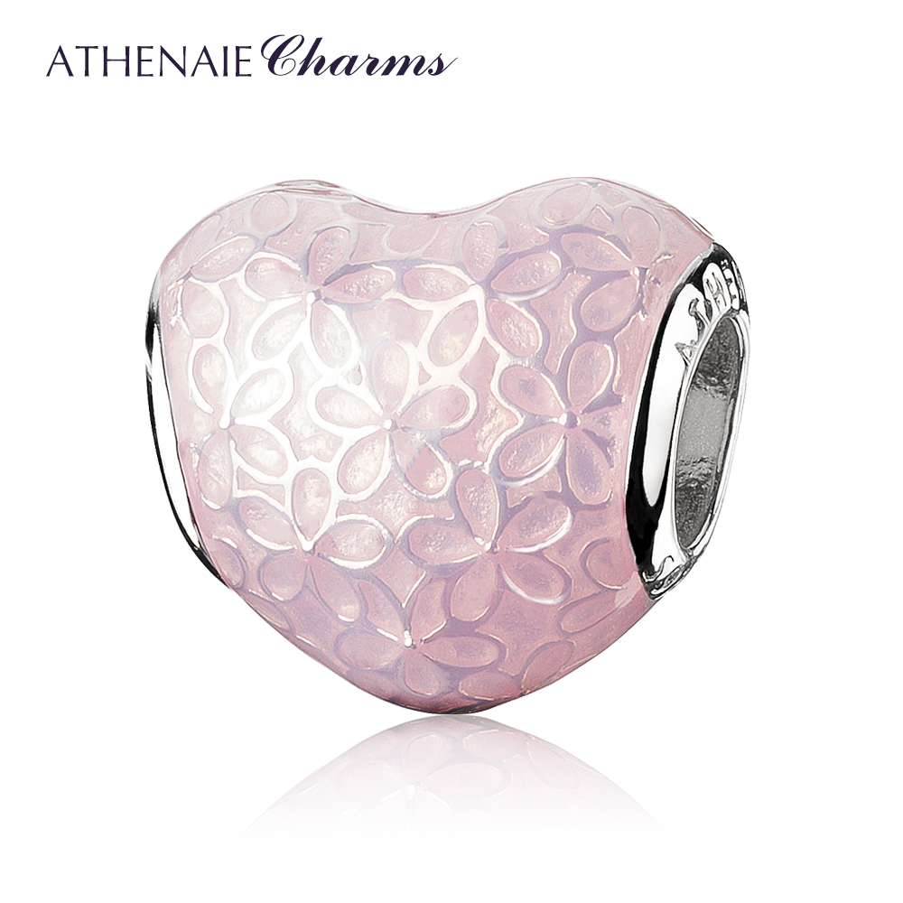 ATHENAIE 925 Sterling Silver Glittering Heart Soft Pink Enamel Flower Charm Beads Color Bright Pink цена