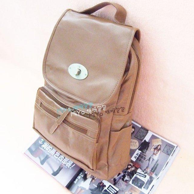 Wholesale new style lock backpack solid color vintage backpack school bag K8
