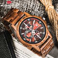 Handmade Natural Wooden Watches Chronograph Date Sport Mens Watches Top Brand Luxury Watch With Japanese Movement For Gift