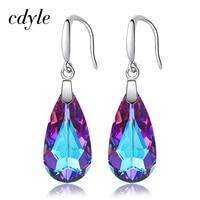 Cdyle Water Drop Silver 925 Dangle Earrings Blue/Purple Embellished with crystals from Swarovski Earrings Women Crystal Jewelry