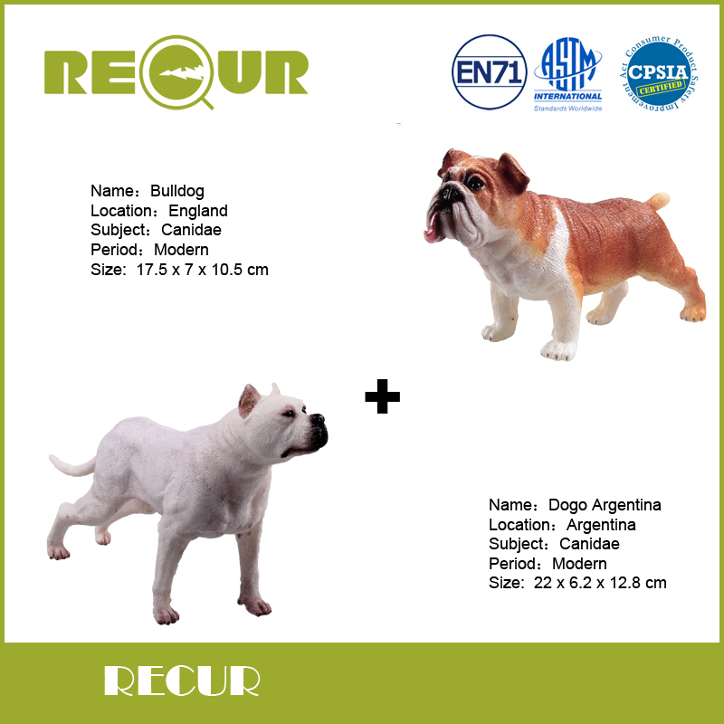 2 pcs/lot Recur Toys Bulldog+Dogo Argentina Dog Farm Animal Model Hand Painted Soft PVC Collection Action Toys Figures For Kids