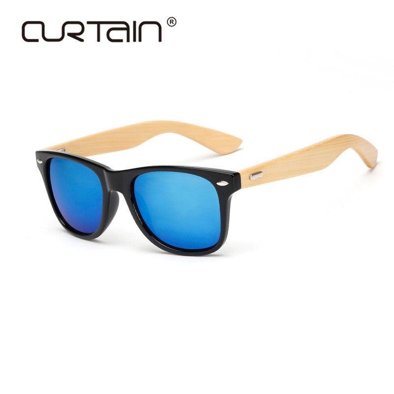 Retro Træ Solbriller Mænd Bambus Solbriller Kvinder Brand Design Sportbriller Guld Spejl Solbriller Nuancer lunette oculo 2019