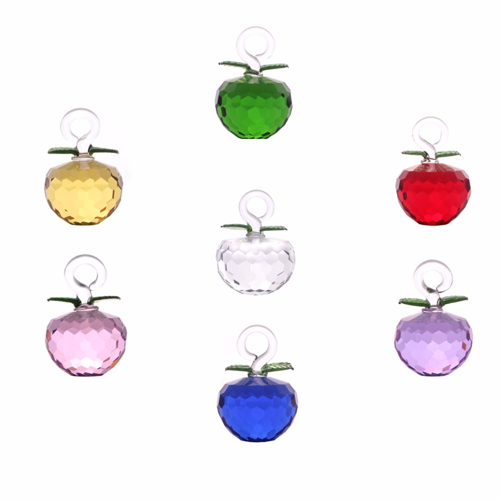 New Year Chirstmas Tree Hanging Cut Crystal Glass Apple Ornaments 2017 natale Navidad Curtains Home natal decorations gifts