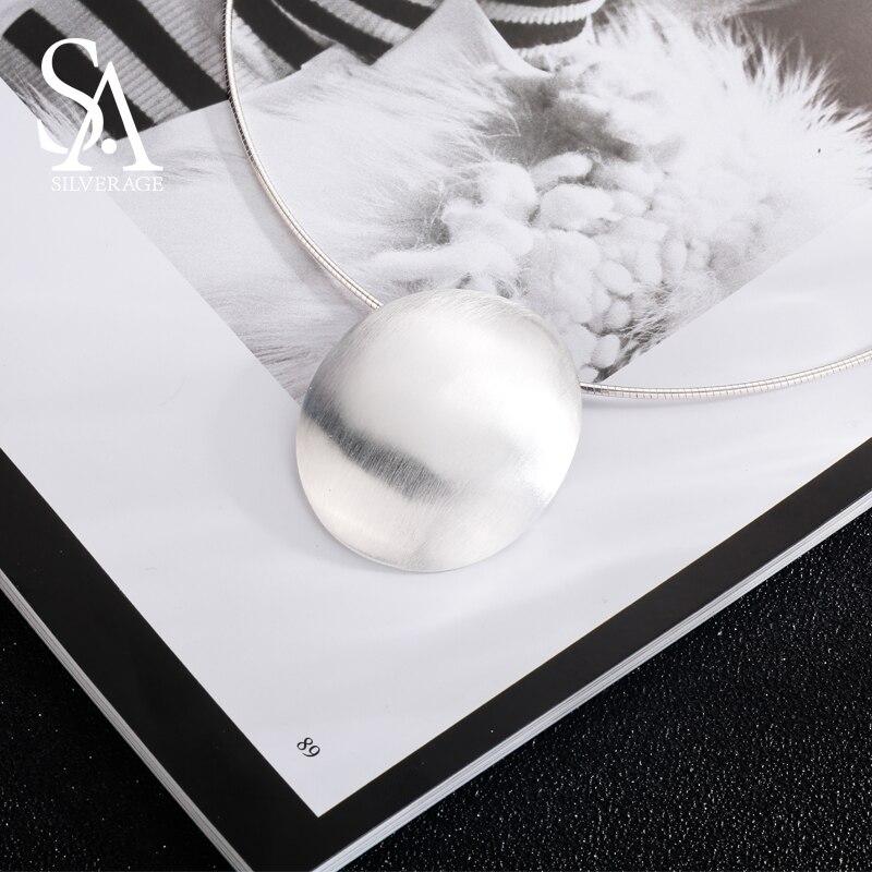SA SILVERAGE 925 Sterling Argent Ovale Choker Collier Tour de Cou Colliers Beaux Bijoux Pour Les Femmes collier femme 8.81g/35mm * 44mm - 5