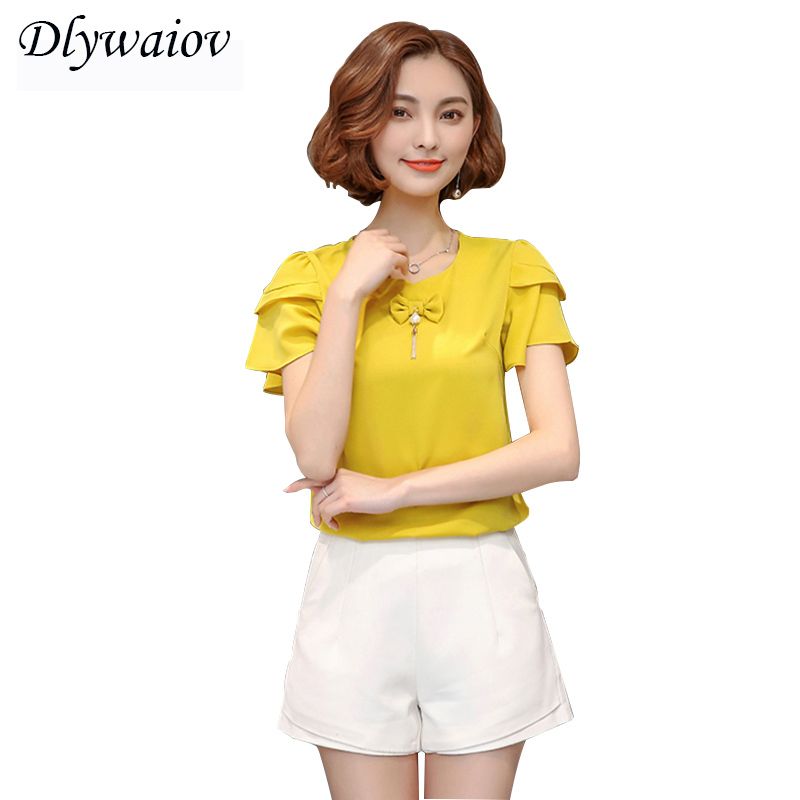 2018 Summer New Women Chiffon Top Petal Sleeve O Collar Shirt Bow tie Pearl Accessories Lady Short Pullover Red