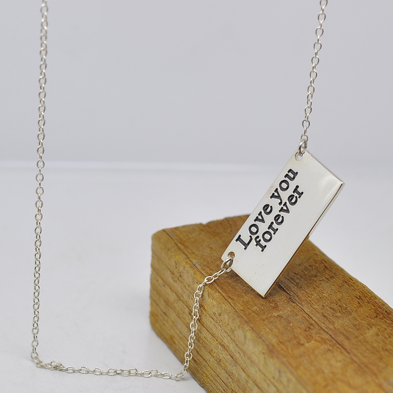 Wholesale Personalized Engraved Love Message Bar Custom Name Word Tag font b Necklace b font BFF
