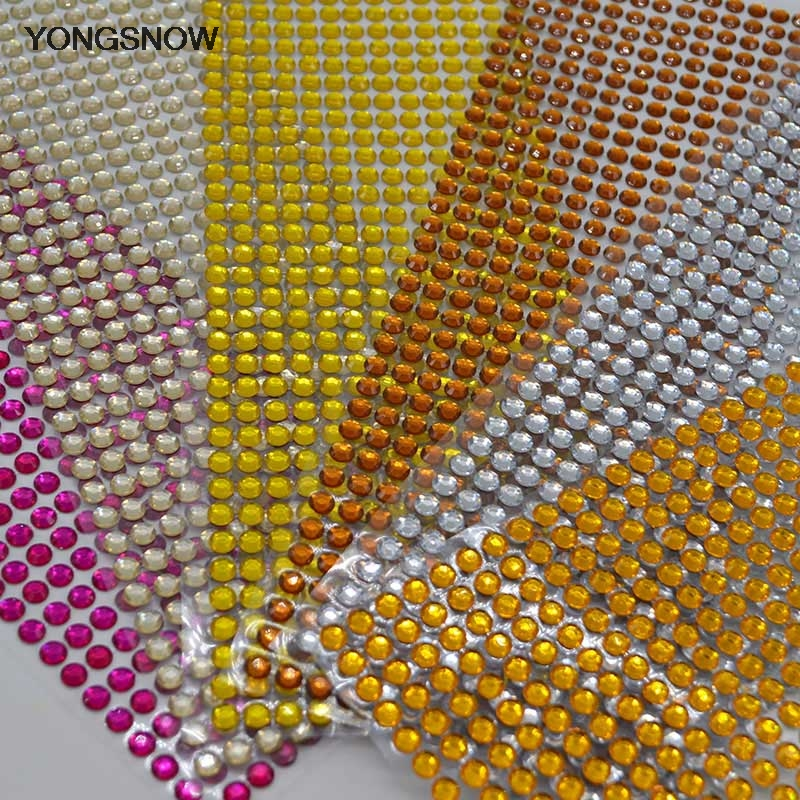 54 Mixed YELLOW GOLD Eleganza Heart Gems 6mm 8mm /& 10mm Craft Stickers Diamante