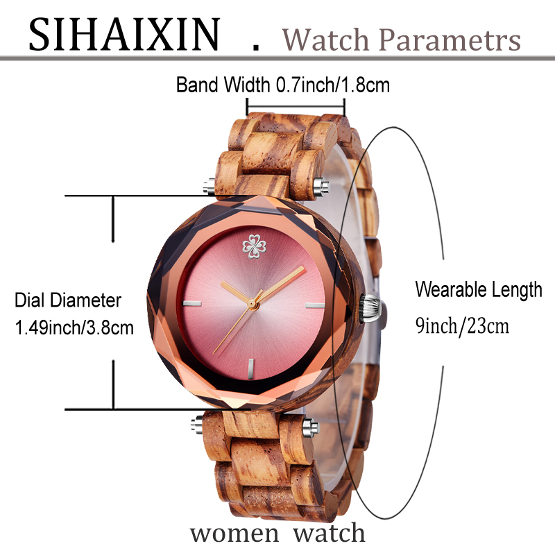 zebra pink small women wooden watch for lady clock  32