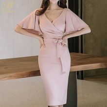 H Han Queen Summer Women Bow Sexy Pink Bodycon Pencil Sheath Retro Formal Wedding Evening Party Special Occasion Dress