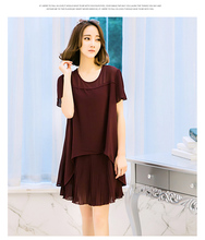 Large size women's clothing in the of 2016 the new dress cultivate one's morality show thin false two long in short sleeves