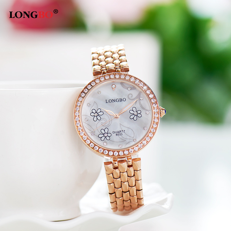 Luxury Brand Longbo Woman Quartz Watch Waterproof Fashion Top Quality Rhinestone Ladies Rose Stainless Steel Gift Dress Watches