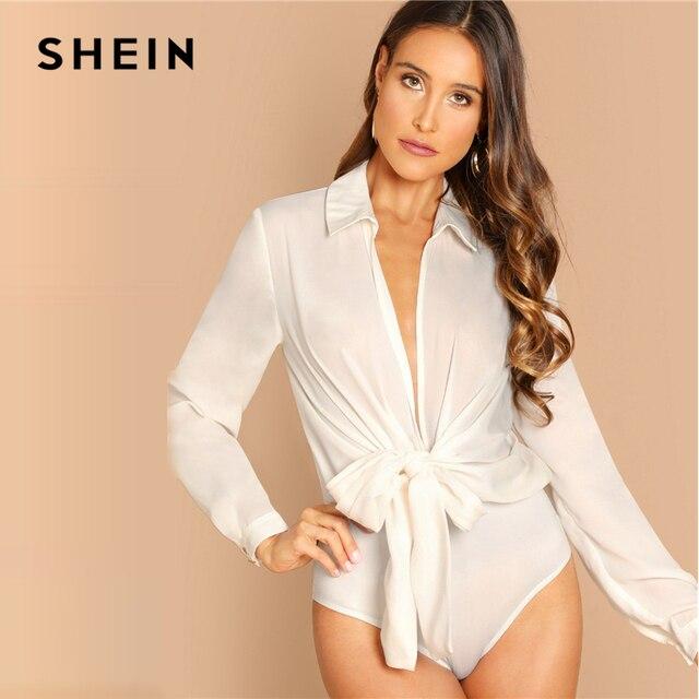 SHEIN White Plunge Neck Knot Front Blouse Bodysuit Casual Long Sleeve Mid Waist Bodysuit Women 2018 Autumn Plain Sexy Bodysuits